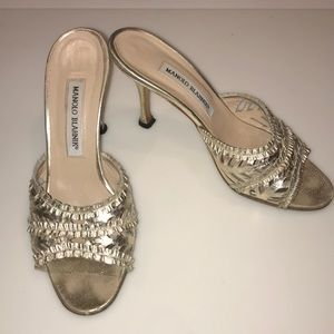 Manolo Blahnik Gold Sandals